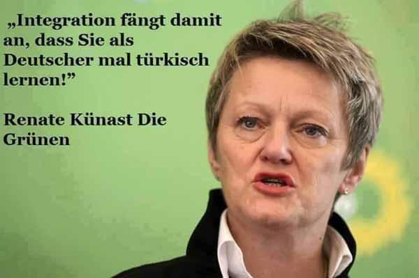 Renate Künast GRÜNE: Deutsche sollen gefälligst Türkisch lernen um sich in Deutschland zu integrieren. #Date:01.2016#