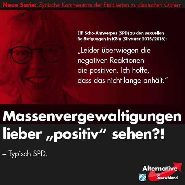 Typisch SPD: Leider überwiegen die negativen Meinungen zu den Massenübergriffen an Silvester 2015 #Date:01.2016#