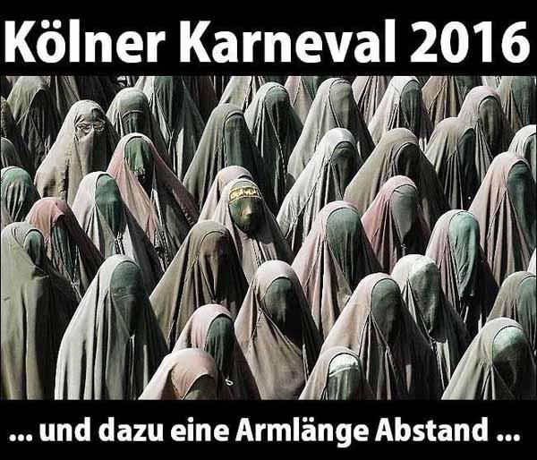 Ist das der Kölner Karneval 2016 in Burka mit einer Armlänge Abstand #Date:01.2016#