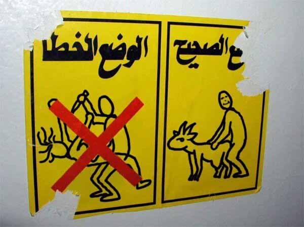 Hinweisschild in Arabisch: Frauen vergewaltigen verboten, Ziegen ficken erlaubt, wenn es denn sein muss. #Date:01.2016#