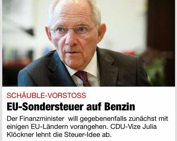 Bundesfinanzminister Schäuble will Sondersteuer für Flüchtlinge. #Date:01.2016#