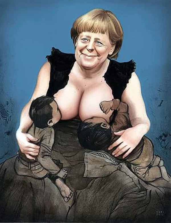 Merkel säugt ihre Flutling-Babys. #Date:01.2016#