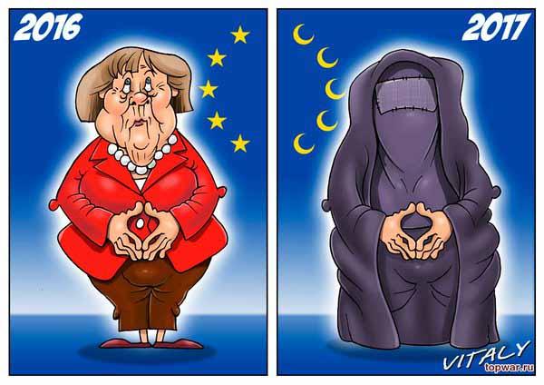 Merkel wie sie ist und was sich für sie ändern wird. In Burka. Sie  hat es so gewollt. #Date:01.2016#