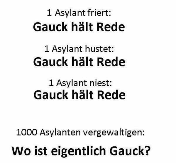 Asylant hustet Gauck ist da, Asylant niest Gauck ist da, Asylant friert Gauck ist da, Massenvergewaltigung wo ist Bundespräsident Gauck #Date:01.2016#