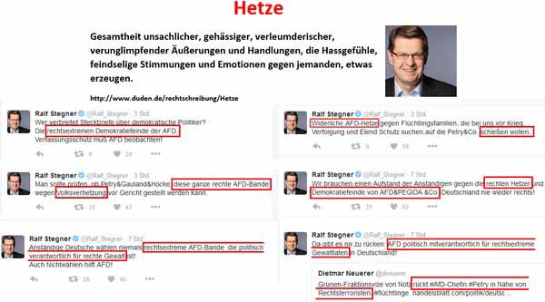 Tweets eines einzigen Tages vom SPD-Kotzbrocken Ralfi Flatulentia Stegner #Date:02.2016#