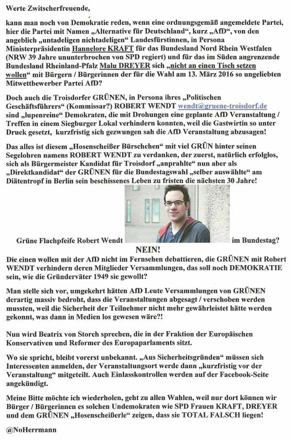 Grüne Flachpfeife gegen AfD #Date:02.2016#