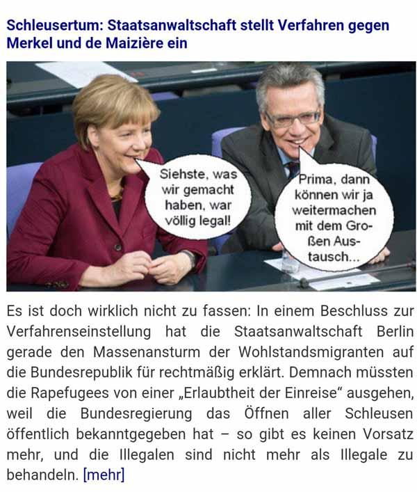 Staatsanwaltschaft stellt  Verfahren gegen Merkel und de Maiziere wegen Schleusens von Ausländern ein #Date:02.2016#