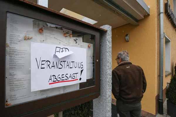 AfD-Veranstaltung wegen Vandalismus politischer Gegner abgesagt. #Date:02.2016#