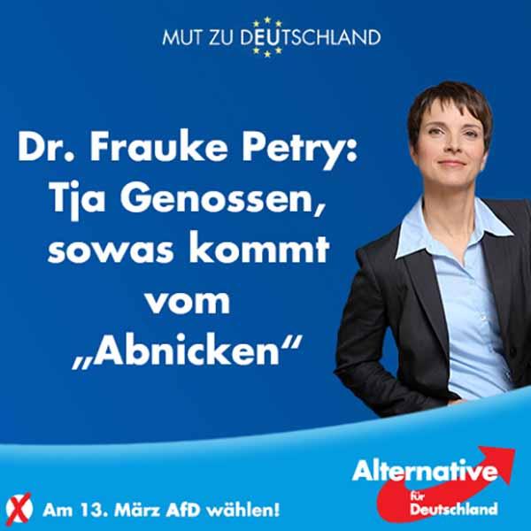 Frauke Petry: Tja Genossen, so was kommt vom Abnicken #Date:02.2016#