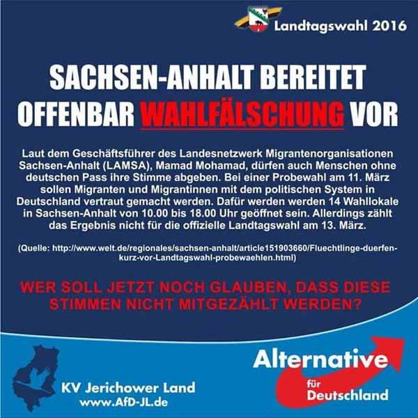 Gefahr der Wahlfälschung in Sachsen-Anhalt #Date:02.2016#