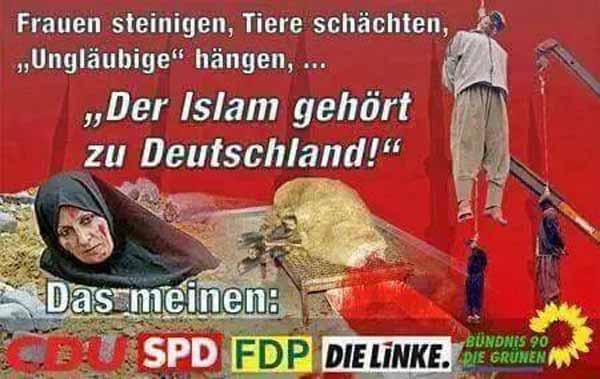 Islam ist Frieden und gehört zu Deutschland. Frauen steinigen, Tiere schächten, Ungläubige schlachten. #Date:02.2016#