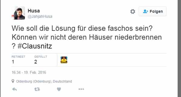 Ausländer wollen Häuser in Clausnitz niederbrennen, weil dort gegen Flutlinge demonstriert wurde. #Date:02.2016#