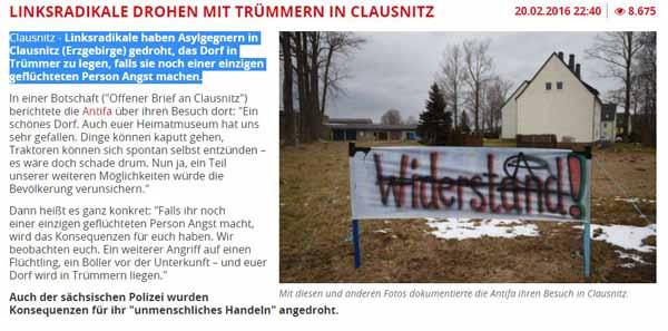 Linksradikale wollen Clausnitz zertrümmern, weil dort Bürger gegen Flüchtlinge demonstrierten #Date:02.2016#