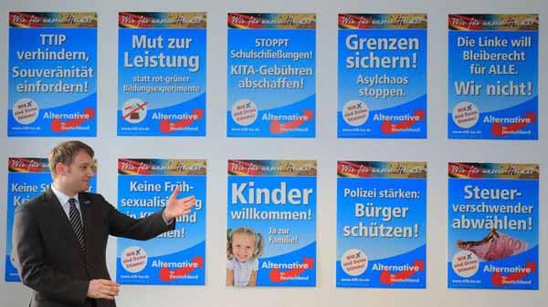 Andre Poggenburg, AfD-Sachsen-Anhalt vor  Wahlkampfplakaten #Date:02.2016#
