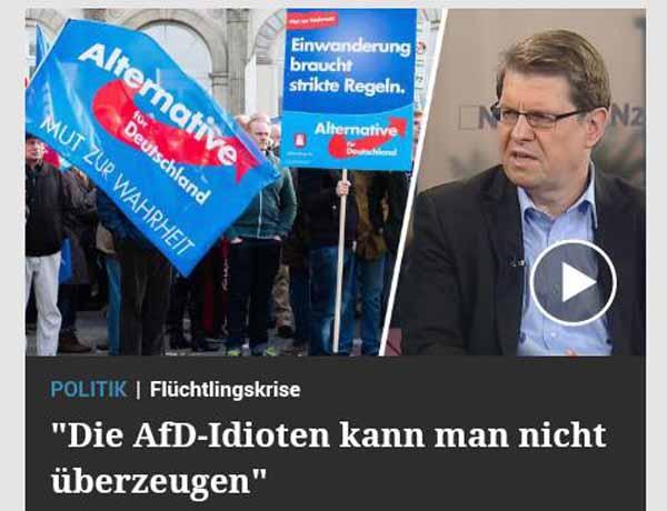 Stegner (SPD) krasses Beispiel einer kaputten Polit-Existenz bezeichnet AfD-Mitglieder als Idioten. #Date:02.2016#