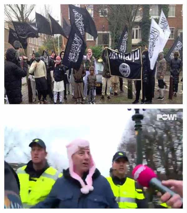 Islamisten protestieren unbehelligt in Deutschland und Europa. Bürger wird verhaftet wegen Tragens einer Schweinemütze aus Stoff. #Date:02.2016#