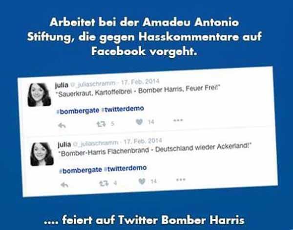 Wünscht sich Bomben auf Deutschland und arbeitet bei linksradikaler Stiftung, die im Auftrag von Justizminister Maas Facebook überwacht. #Date:02.2016#