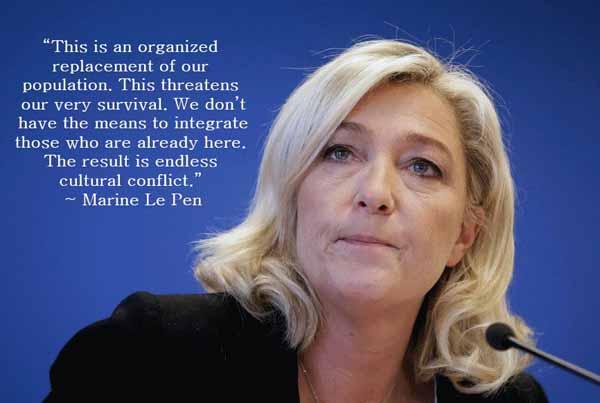 Marine Le Pen, Frankreich, über die Vernichtung der eigenen Bevölkerung durch fremde Kulturen. #Date:02.2016#