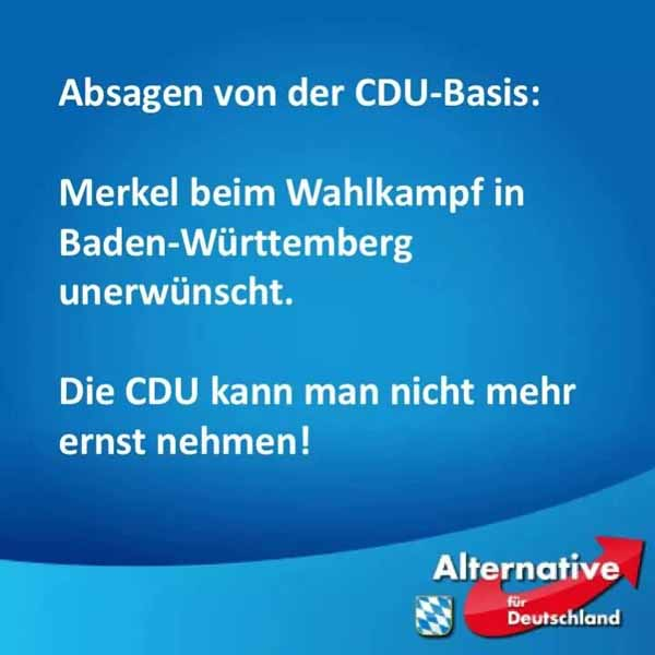 Merkel muss weg. Gib Multi-Kulti keine Chance. Merkel bei der CDU-Basis im Wahlkampf 2016 Baden-Württemberg unerwünscht. #Date:02.2016#