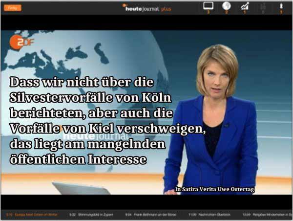 ZDF Medien Schweigen über Köln, Schweigen über den Asylanten-Mob gegen drei Mädchen in Kiel #Date:02.2016#