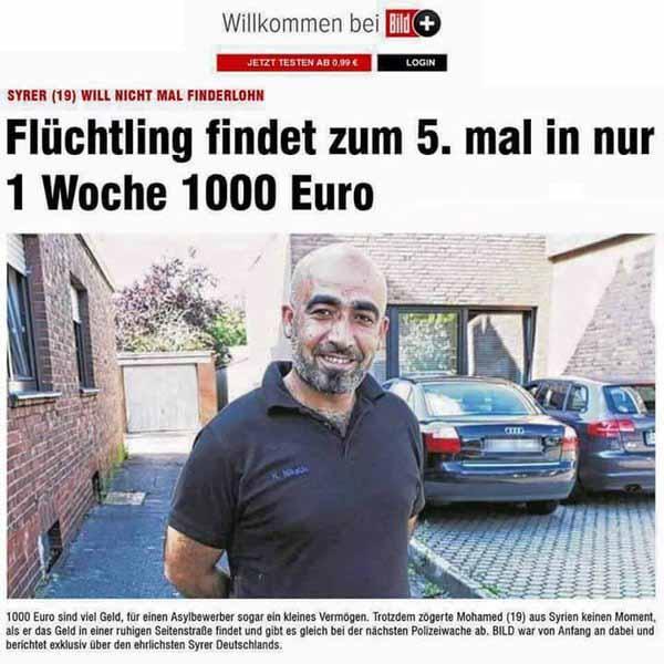Ein Wunder ist geschehen. Flüchtling findet zum 5. Mal in einer Woche 1000 Euro auf der Straße. Verdummungskampagne der Bild-Zeitung. #Date:02.2016#