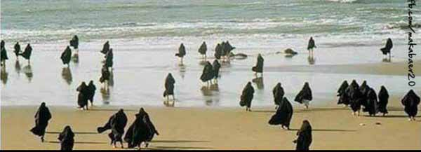 Islam Europa – 2020 an der Nordsee Burka, Burka, Burka. #Date:02.2016#