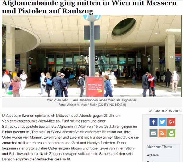 Wien: Asylantenbande mit Messern und Pistole auf Raubzug am Hauptbahnhof #Date:02.2016#