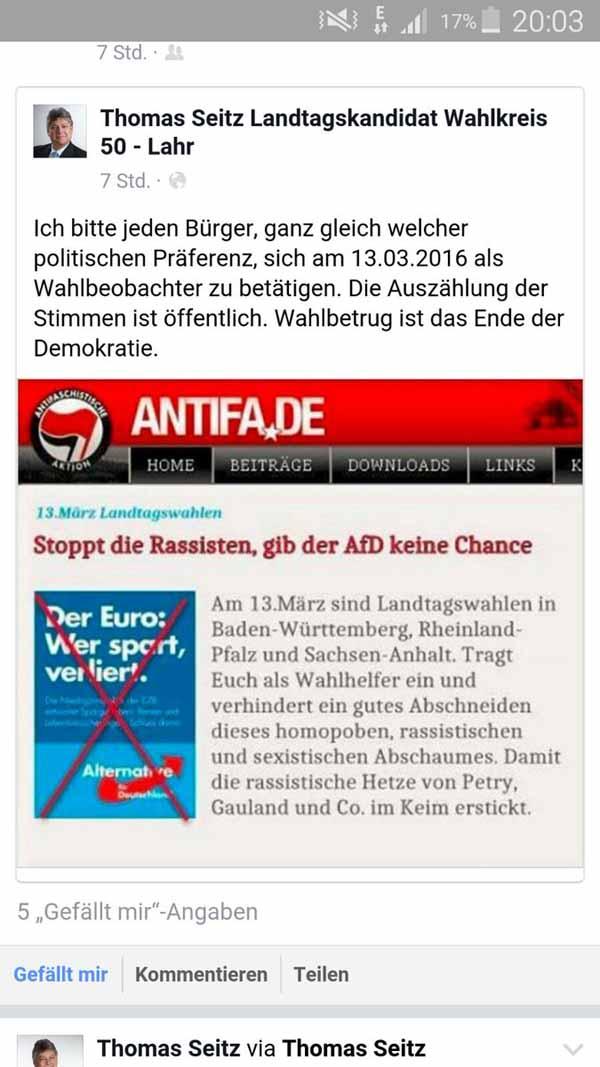 Die Antifa ruft zum Wahlbetrug durch Falschauszählung bei den Landtagswahlen in 2016 auf. #Date:02.2016#