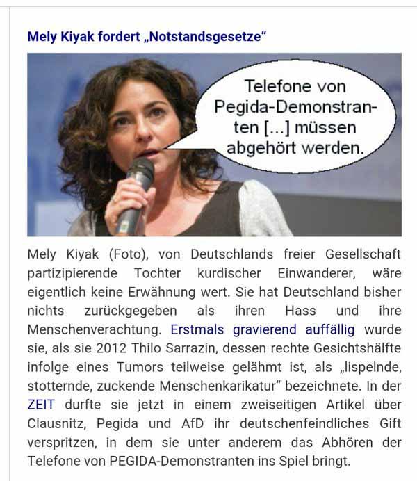 Kurdische angeblich Deutsche Mely Kiyak fordert Notstandsgesetze, weil der Islam nicht zu Deutschland gehört. #Date:02.2016#
