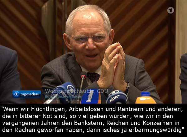 Bundesfinanzminister Schäuble eine der erbarmungswürdigsten Kreaturen in der Versagerregierung #Date:02.2016#