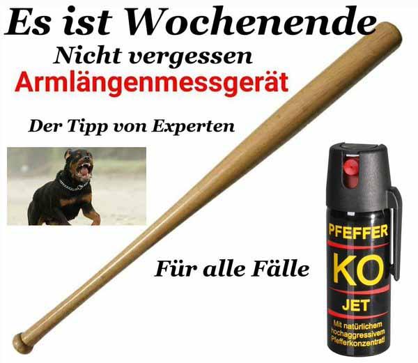 Das neue Deutschland 2016. Armlängenmessgerät und Pfefferspray sind Grundausstattung auf der Straße. #Date:03.2016#