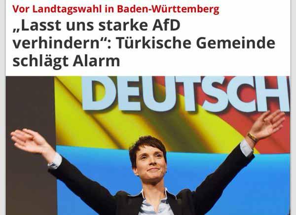Türkische Moslem-Migranten rufen zum Verhindern der AfD auf #Date:03.2016#