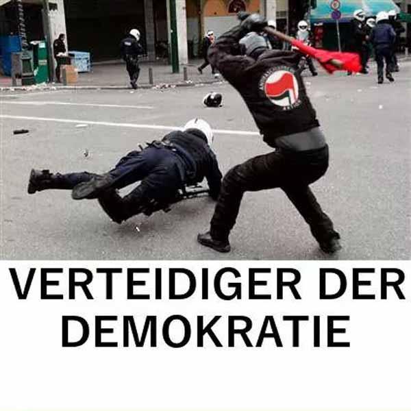 Antifa verprügelt Polizisten. Das Selbstverständnis der Verteidiger der Demokratie #Date:03.2016#