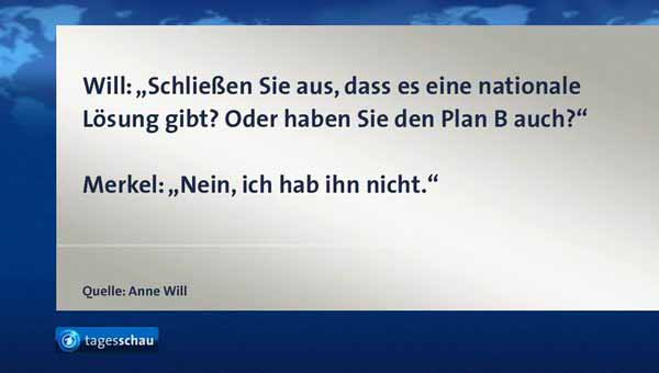 Einen Plan B habe ich nicht, so Merkel zu Anne Will #Date:03.2016#