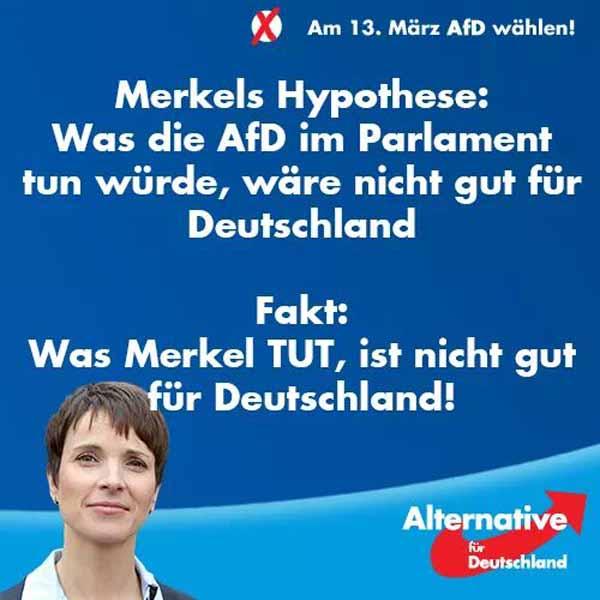 Merkel sagt, die AfD würde möglicherweise  im Parlament nichts Gutes tun. Tatsache ist, dass Merkel mit Sicherheit nichts Gutes tut. #Date:03.2016#