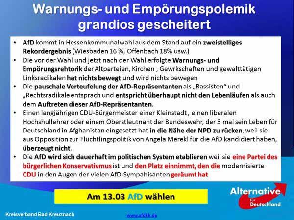 Warnunungspolitik und Empörungspolitik gegen die Alternative für Deutschland AfD ist  gescheitert #Date:03.2016#