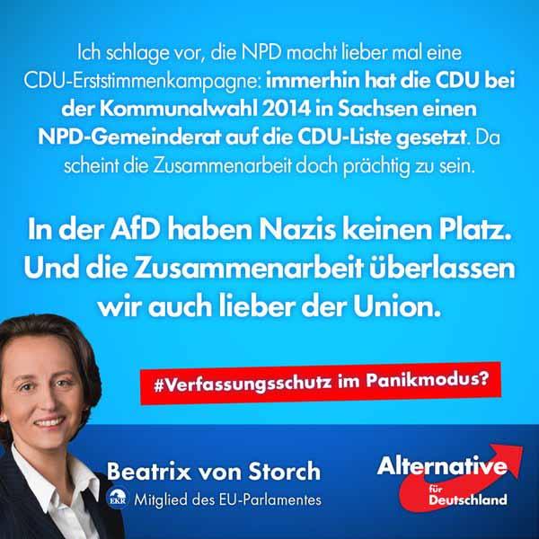 Klare Absage an eine Zusammenarbeit von Alternative für Deutschland AfD und NPD. #Date:03.2016#