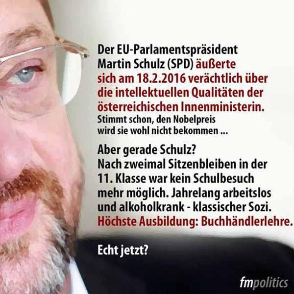 EU Ratspräsident Martin Schulz SPD auch so ein Fall, die dem Bürger die Haare zu Berge stehen lassen #Date:03.2016#