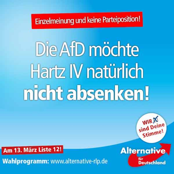 AfD Alternative für Deutschland gegen Absenkung von Hartz 4 #Date:03.2016#