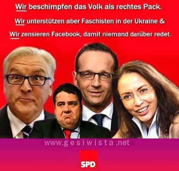 Die hässliche Fratze der SPD gegen den deutschen Bürger offen gezeigt von  Steinmeier, Maas, Gabriel und Fahimi #Date:03.2016#