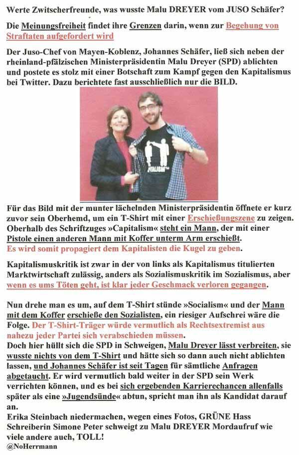 SPD Juso Schäfer mit Malu Dreyer SPD Ministerpräsidentin will Kapitalisten erschiessen #Date:03.2016#