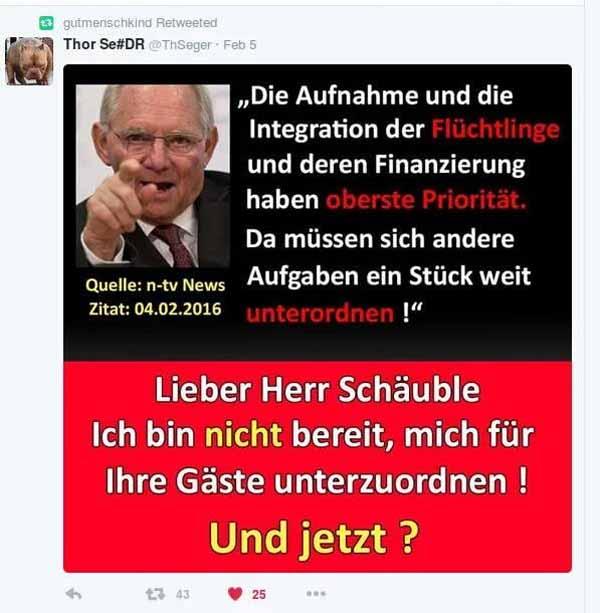 Bundesfinanzminister Schäuble CDU räumt Geld für Flüchtlinge oberste Priorität ein. Deutsche sollen zurückstehen #Date:03.2016#