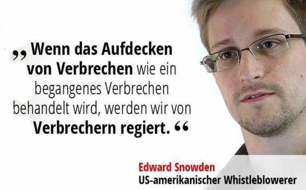 Edward Snowden. Wenn das Aufdecken von Verbrechen wie ein begangenes Verbrechen behandelt wird, werden wir von Verbrechern regiert #Date:03.2016#