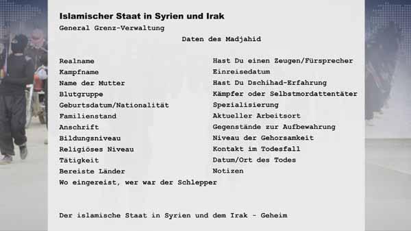 Personal-Erfassungsbogen des IS Daesh. 20000 wurden Behörden zugespielt #Date:03.2016#