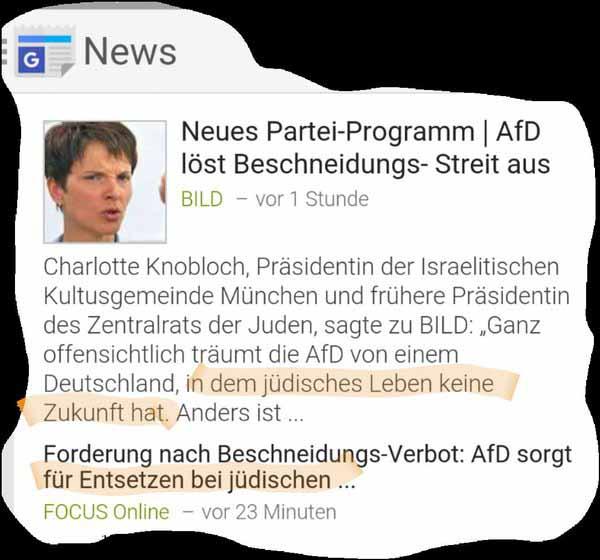 Die Bekämpfung der rituellen Beschneidung im Programmentwurf der Alternative für Deutschland AfD löst seltsame Diskussionen aus. Die Grünen sind ausdrücklich für verstümmelnde schmerzhafte Beschneidungen #Date:03.2016#