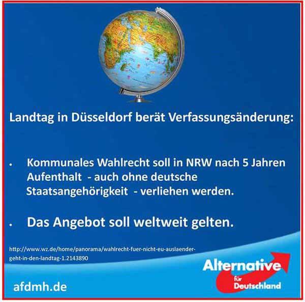 Landtag in Dusseldorf will Wahlrecht für Alle #Date:03.2016#