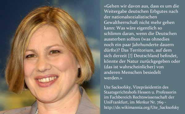 Anti-Deutsche Maulheldin Ute Sacksofsky, Vizepräsidentin des hessischen Staatsgerichtshofes #Date:03.2016#