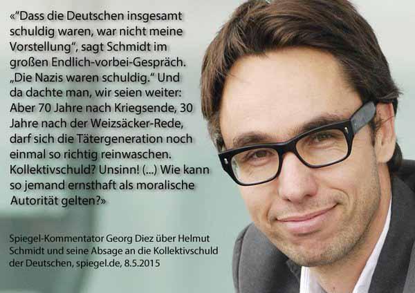 Anti-Deutscher Maulheld Georg Diez über Helmut Schmidts (SPD) Absage an die Kollektivschuld der Deutschen #Date:03.2016#