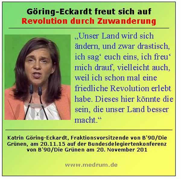 Göring-Eckardt freut sich auf Revolution durch Migranten, damit Deutschland ein besseres Land wird. #Date:03.2016#