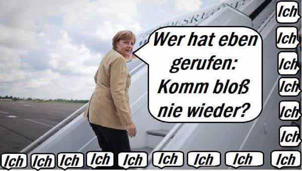 Merkel auf dem Weg ins Flugzeug. Wer hat eben gerufen: und komm bloß nicht wieder.  #Date:01.2016#